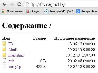 Сервер ftp://ftp.sagmel.by/