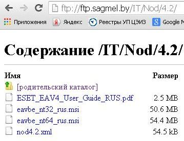 Ключи NOD32 с сервера ftp://ftp.sagmel.by/